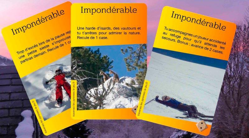 """Cartes """"Impondérable"""", """"Traversez les Pyrénées à Ski ou par le Piemont"""""""